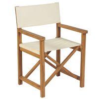 vidaXL Składane krzesło reżyserskie, lite drewno tekowe, kremowe