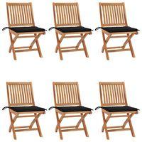 vidaXL Składane krzesła ogrodowe z poduszkami, 6 szt., drewno tekowe