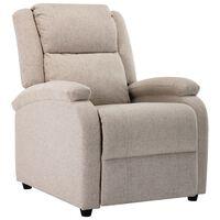 vidaXL Rozkładany fotel telewizyjny, kremowy, tapicerowany tkaniną