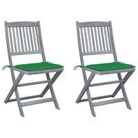 vidaXL Składane krzesła ogrodowe, 2 szt., poduszki, drewno akacjowe