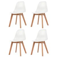vidaXL Krzesła stołowe, 4 szt., białe, plastik