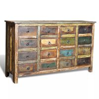 vidaXL Komoda w starym stylu z drewna odzyskanego, 16 szufladek