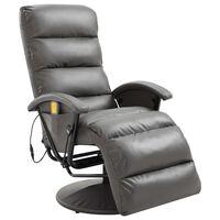 vidaXL Telewizyjny fotel masujący, regulowany, szary, ekoskóra