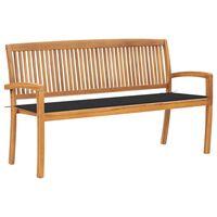 vidaXL Sztaplowana ławka ogrodowa z poduszką, 159 cm, drewno tekowe