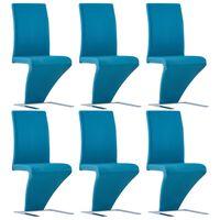 vidaXL Krzesła o zygzakowatej formie 6 szt, niebieskie, sztuczna skóra