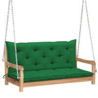 vidaXL Huśtawka ogrodowa z zieloną poduszką, 120 cm, drewno tekowe