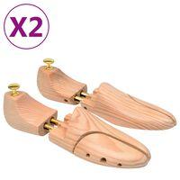 vidaXL Prawidła do butów, 2 pary, rozmiar 44-45, lite drewno sosnowe