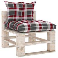 vidaXL Sofa środkowa z palet, z poduszkami, sosna
