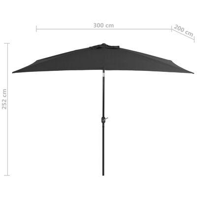 vidaXL Parasol ogrodowy na metalowym słupku, 300 x 200 cm, antracytowy