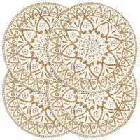 vidaXL Maty na stół, 4 szt., białe, 38 cm, okrągłe, juta