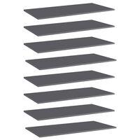 vidaXL Półki na książki, 8 szt., wysoki połysk, szare, 80x30x1,5 cm