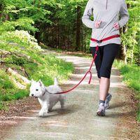 TRIXIE Pas biodrowy ze smyczą dla psa, S/M, czerwony