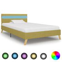 vidaXL Rama łóżka z LED, zielona, tkanina, 90 x 200 cm