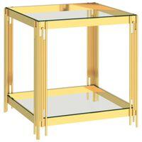 vidaXL Stolik kawowy, złoty, 55x55x55 cm, stal nierdzewna i szkło