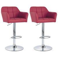 vidaXL Krzesła barowe, 2 szt., podłokietniki, czerwone wino, ekoskóra