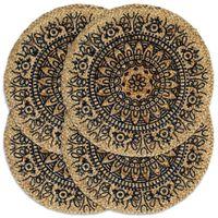 vidaXL Maty na stół, 4 szt., ciemnoniebieskie, 38 cm, okrągłe, juta