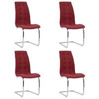 vidaXL Wspornikowe krzesła stołowe, 4 szt., czerwień winna, tkanina