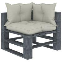 vidaXL Ogrodowe siedzisko narożne z palet, z beżowymi poduszkami