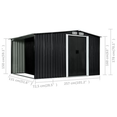 vidaXL Szopa z drzwiami przesuwnymi, antracyt, stal, 329,5x131x178 cm