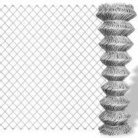 vidaXL Siatka ogrodzeniowa z galwanizowanej stali, 25x1,5 m, srebrna