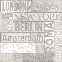 Urban Friends & Coffee Tapeta z nazwami miast, szaro-biała