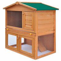 vidaXL Klatka dla królików i małych zwierząt, 3 drzwiczki, drewniana