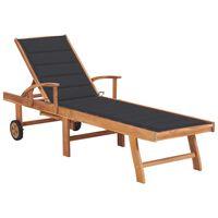 vidaXL Leżak z antracytową poduszką, lite drewno tekowe