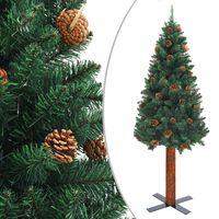 vidaXL Smukła choinka z drewnem i szyszkami, zielona, 150 cm, PVC