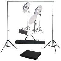 vidaXL Fotograficzny zestaw studyjny z lampami i tłem