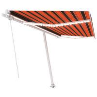 vidaXL Ręcznie zwijana markiza z LED, 450x300 cm, pomarańczowo-brązowa