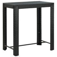 vidaXL Ogrodowy stolik barowy, czarny, 100x60,5x110,5 cm, polirattan