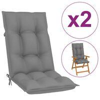 vidaXL Poduszki na krzesła ogrodowe, 2 szt., szare, 120x50x7 cm
