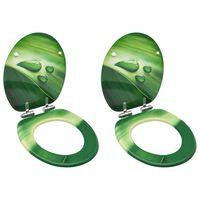 vidaXL Deski klozetowe wolnoopadające, 2 szt., MDF, zielona kropla