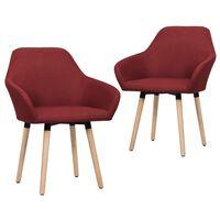 vidaXL Krzesła do jadalni, 2 szt., czerwone wino, tapicerowane tkaniną