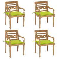vidaXL Krzesła Batavia z poduszkami, 4 szt., lite drewno tekowe