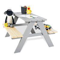 Pinolino Dziecięcy stół piknikowy Nicki für 4, drewniany, szary