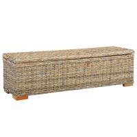 vidaXL Skrzynia, 120 cm, rattan kubu i lite drewno mango