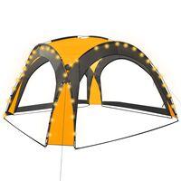 vidaXL Namiot imprezowy z LED i 4 ściankami, 3,6x3,6x2,3 m, żółty