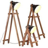 vidaXL Lampy podłogowe, 3 szt., czarne, E27, lite drewno mango