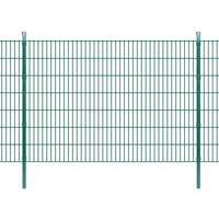 vidaXL 2D Panele i słupki ogrodzeniowe 2008x1430 mm 16 m zielone