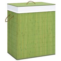 vidaXL Bambusowy kosz na pranie, zielony, 83 L
