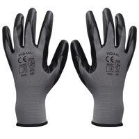 vidaXL Rękawice robocze nitrylowe 24 pary szaro-czarne rozmiar 8/M