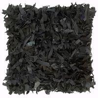 vidaXL Poduszka shaggy, czarna, 60x60 cm, skóra i bawełna