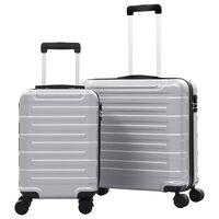 vidaXL Zestaw twardych walizek, 2 szt., srebrne, ABS