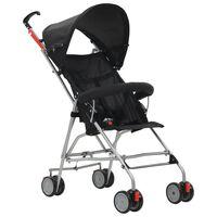 vidaXL Składany wózek spacerowy, czarny, stalowy
