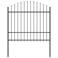 vidaXL Panel ogrodzeniowy z grotami, stal, (1,5-1,75) x 1,7 m, czarny