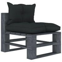 vidaXL Ogrodowe siedzisko z palet z antracytowymi poduszkami, drewno