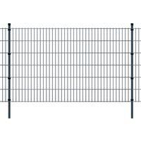 vidaXL 2D Panele ogrodzeniowe z słupkami 2008x1230 mm 18 m Szare