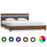 vidaXL Rama łóżka z LED, brązowa, tapicerowana tkaniną, 160 x 200 cm