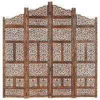 vidaXL Parawan 4-panelowy, rzeźbiony, brąz, 160x165 cm, drewno mango